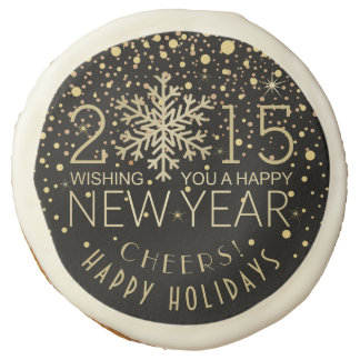 Happy New Year 2015 Snowflake with Confetti Cookie Sugar Cookie