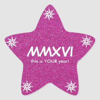 Happy New Year 2016 Pink Roman Numeral Motivation Star Sticker