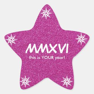 Happy New Year 2016 Pink Roman Numeral Motivation Star Sticker