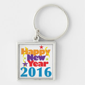 Happy New Year 2016 Silver-Colored Square Keychain