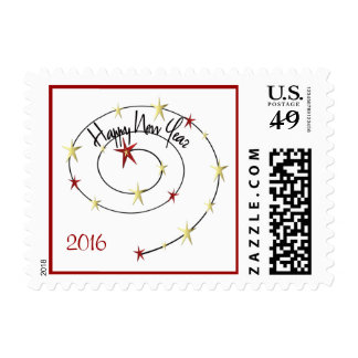 Happy New Year 2016 Stars Stamp