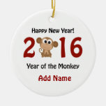 Happy New Year 2016 Year of the Monkey Ceramic Ornament