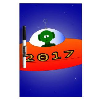 Happy New Year 2017 Alien Dry-Erase Board