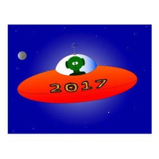 Happy New Year 2017 Alien Postcard
