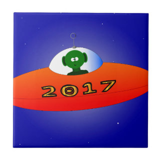 Happy New Year 2017 Alien Tile