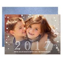 Happy New Year | 2017 Blue Confetti Photo Card