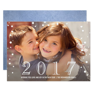 Happy New Year | 2017 Blue Confetti Photo Card
