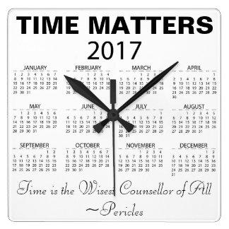 Happy New Year 2017 Calendar Wisdom Quote Square Wall Clock