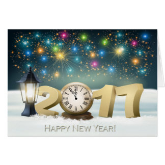Happy New Year 2017 - Clock / Fireworks Card
