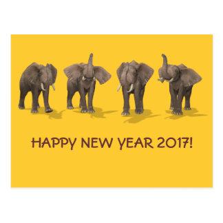 Happy New Year 2017 Elephants Postcard