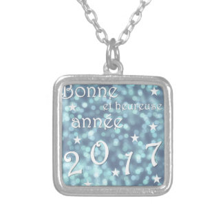Happy new year 2017, french silver plated necklace