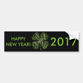 Happy New Year 2017 January Four Leaf Clover Bumper Sticker