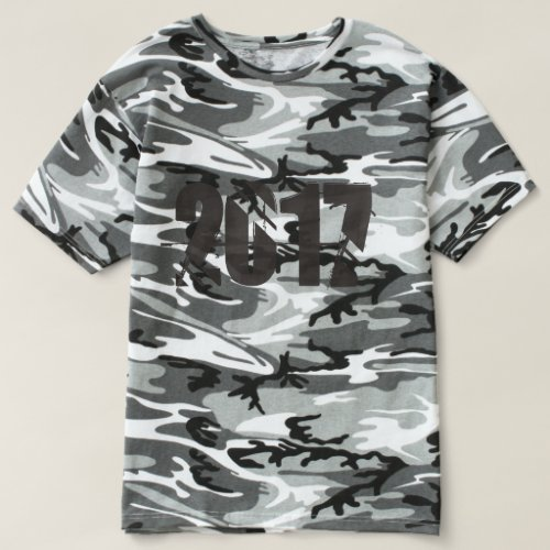 Happy New Year 2017 Numbers Grey Camouflage Shirt