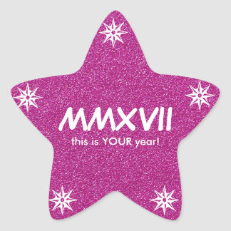 Happy New Year 2017 Pink Roman Numeral Motivation Star Sticker