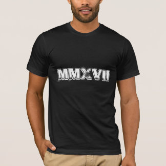 Happy New Year 2017 Roman Numerals Black White T-Shirt