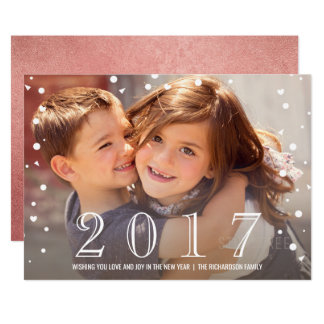 Happy New Year | 2017 Rose Gold Confetti Photo Card