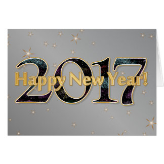Happy New Year 2017 Stars Fireworks Silver Gold Card