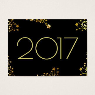 Happy New Year 2017 Typography Stars Black Gold Business Card