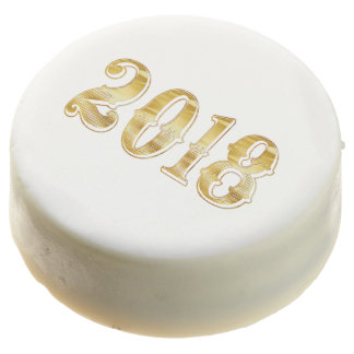 Happy New Year 2018 Anniversary Gold White Cookie