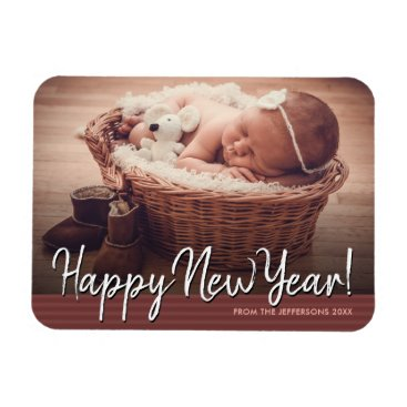 Professional Business Happy New Year 2018 Baby Photo Holiday Magnet