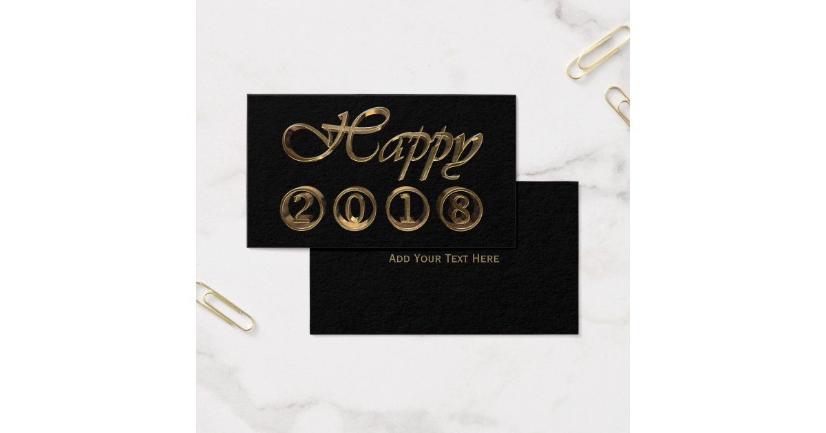 Happy New Year 2018 Black and Gold Look Typography Business Card ...