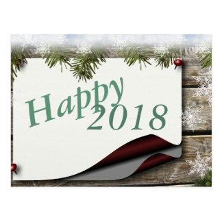 Happy New Year 2018, bulletin message decor Postcard