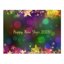 Happy New Year 2018 confetti stars postcard