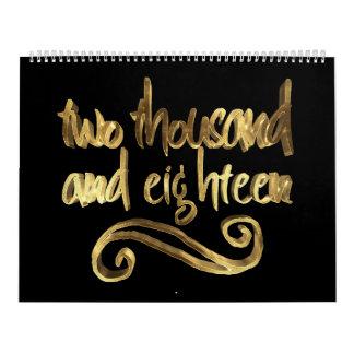 Happy New Year 2018 Elegant Black Gold Typography Calendar