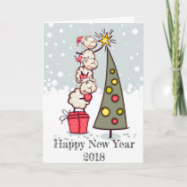 Happy New Year 2018 festive card (sheep / tree)