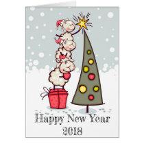 Happy New Year 2018 festive card (sheep / tree)