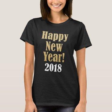 Beach Themed Happy New Year 2018 Golden Sparkle Women's T Shirt