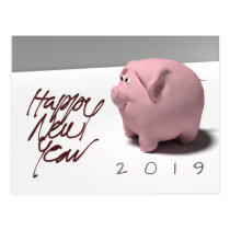 Happy New Year 2019 PIg 3D Greeting Postcard