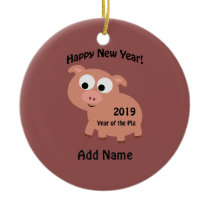 Happy New Year 2019 Year of the Pig Ceramic Ornament