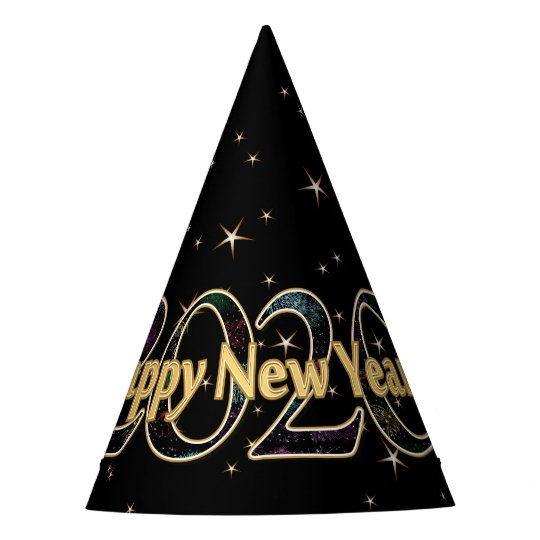 Happy New Year 2020 Stars Fireworks Black Gold Party Hat ...
