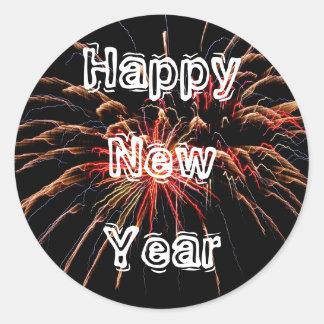Happy New Year 2 Round Stickers