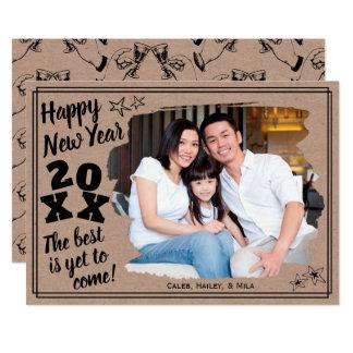 Happy New Year Add a Photo   Rough Edge Effect Card