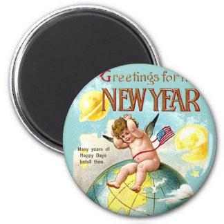 Happy New Year Baby Cherub Planets Globe Vintage 2 Inch Round Magnet
