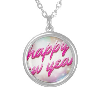 Happy-New-Year Balloons Silver Plated Necklace
