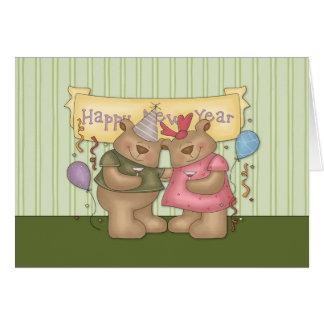 Happy New Year Bears Greeting Card
