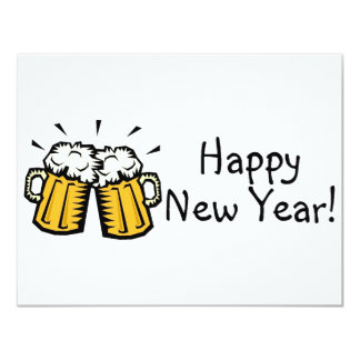 Happy New Year Beer 4.25x5.5 Paper Invitation Card