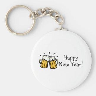 Happy New Year Beer Basic Round Button Keychain