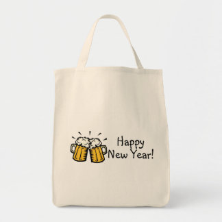 Happy New Year Beer Grocery Tote Bag