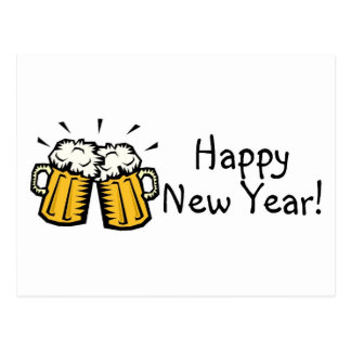 Happy New Year Beer Postcard
