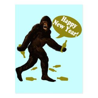 Happy New Year Bigfoot Postcard