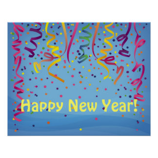 Happy New Year & Birthday Confetti Banner Poster