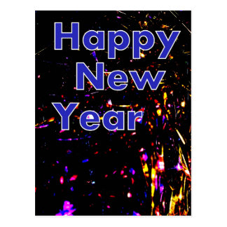 Happy New Year Black and Blue Glitter Postcard