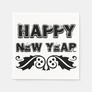 Happy New Year Black and White Text with Holly Paper Napkin