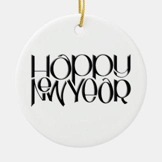 Happy New Year black Round Ornament