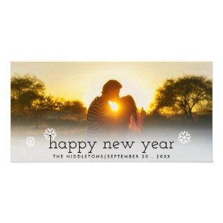 Happy New Year Black Script Holiday Photo Card