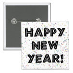 Happy New Year Black Text 2 Inch Square Button